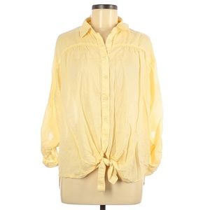 Maurices Button Down Front Tie Shirt Yellow Large